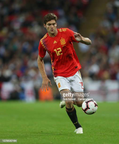 Spain's Marcos Alonso during the UEFA Nations League A group four match between England and Spain at Wembley Stadium on September 8 2018 in London...