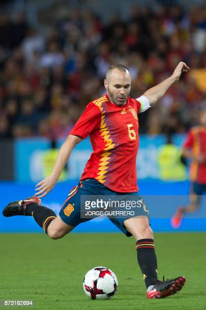 Spain's midfielder Andres Iniesta controls the ball during the FIFA WC2018 friendly football match Spain against Costa Rica at La Rosaleda stadium in...