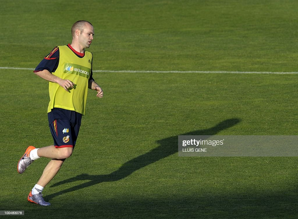 Spain's midfielder Andres Iniesta takes part in a training session of the Spanish football team with Spain's Prince Felipe on May 24, 2010, at the Sports City of Las Rozas, near Madrid. Spain, among the favourites for the World Cup, which runs from June 11-July 11, face Switzerland, Honduras and Chile in Group H of the opening round.