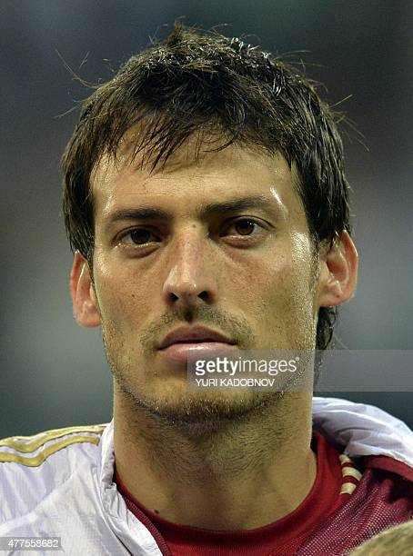 Spain's midfielder David Silva listens to the national anthem prior to the UEFA Euro2016 qualifying round Group C football match between Belarus and...
