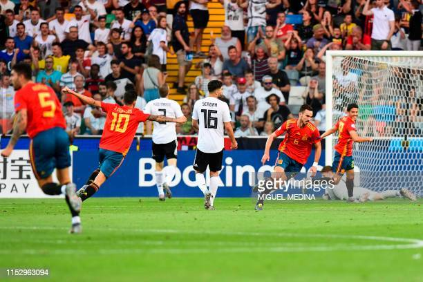 Spain's midfielder Fabian Ruiz celebrates after opening the scoring during the final match of the UEFA U21 European Football Championships between...