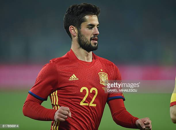 Spain's midfielder Isco is pictured during the friendly football match between Romania and Spain in Cluj Napoca Romania on March 27 2016 / AFP /...