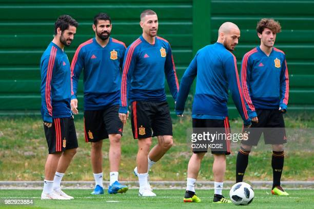 Spain's midfielder Isco Spain's forward Diego Costa Spain's defender Sergio Ramos Spain's forward David Silva and Spain's defender Alvaro Odriozola...