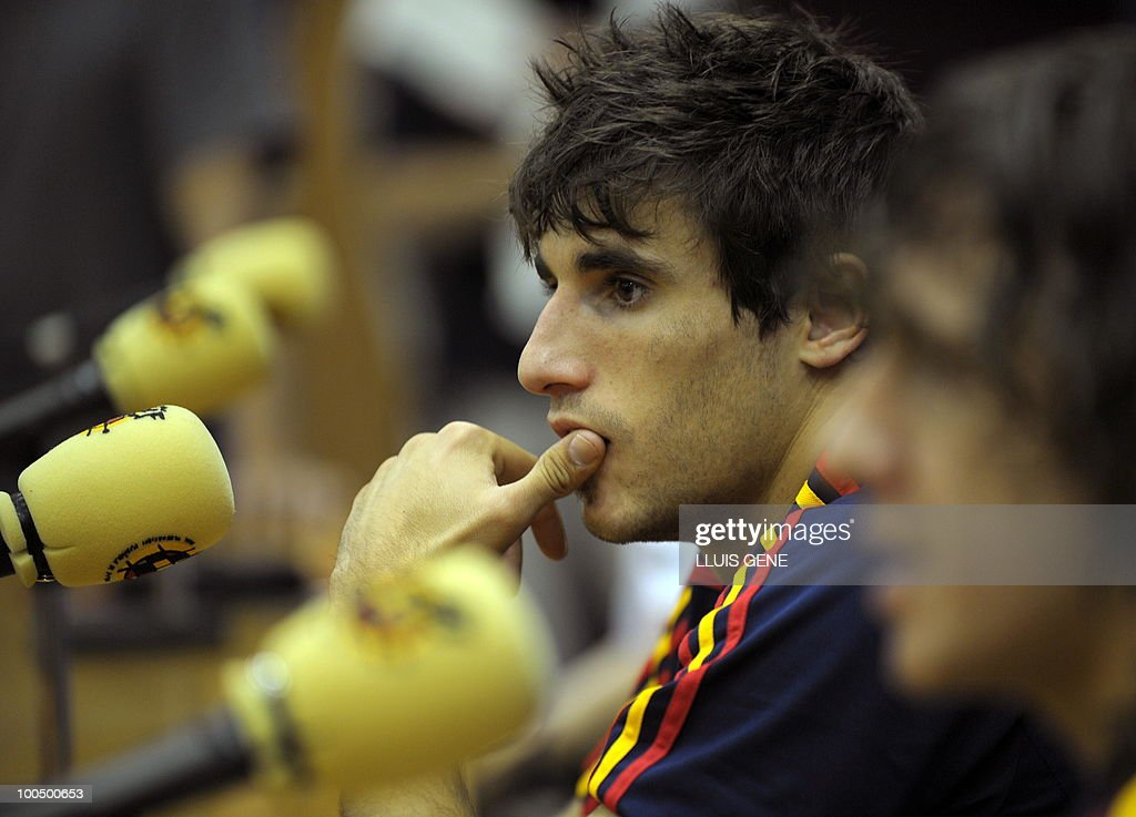 Spain's midfielder Javi Martinez gives a press conference after the training session of the Spanish football team on May 25, 2010, at the Sports City of Las Rozas, near Madrid. Spain, among the favourites for the World Cup, which runs from June 11-July 11, face Switzerland, Honduras and Chile in Group H of the opening round.