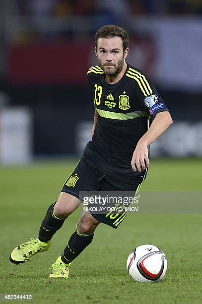 Spain's midfielder Juan Mata controls the ball during the Euro 2016 Group C qualifying football match between Macedonia and Spain at the Filip II...