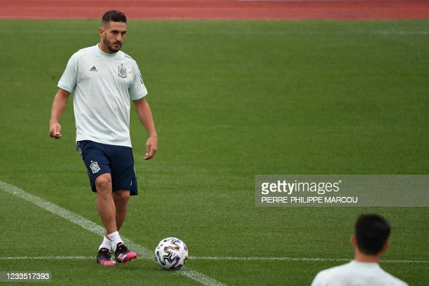 Spain's midfielder Koke controls a ball during their MD-1 training session at Las Rozas near Madrid on June 18, 2021 on the eve of their UEFA EURO...