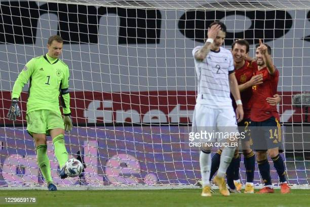 Spain's midfielder Mikel Oyarzabal celebrates after scoring his team's sixth goal during the UEFA Nations League footbal match between Spain and...