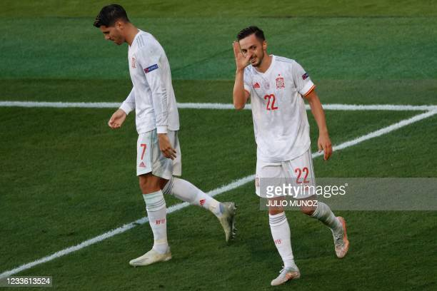 Spain's midfielder Pablo Sarabia celebrates scoring his team's third goal during the UEFA EURO 2020 Group E football match between Slovakia and Spain...