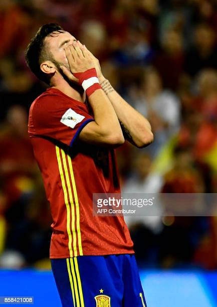 Spain's midfielder Saul Niguez misses an attempt on goal during the World Cup 2018 qualifier football match Spain vs Albania at the Jose Rico Perez...