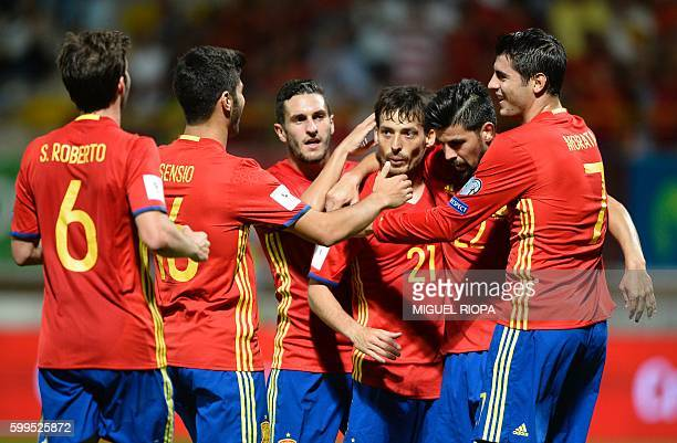TOPSHOT Spain's midfielder Sergi Roberto midfielder Marco Asensio midfielder Koke midfielder David Silva forward Nolito and forward Alvaro Morata...