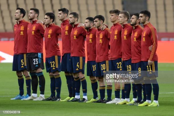 Spain's midfielder Sergio Busquets, Spain's goalkeeper Unai Simon, Spain's midfileder Eric Garcia, Spain's forward Alvaro Morata, Spain's defender...