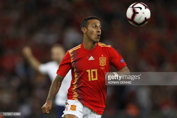 Spain's midfielder Thiago Alcantara controls the ball during the UEFA Nations League football match between England and Spain at Wembley Stadium in...