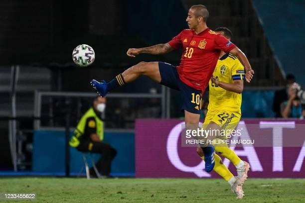 Spain's midfielder Thiago Alcantara controls the ball during the UEFA EURO 2020 Group E football match between Spain and Sweden at La Cartuja Stadium...