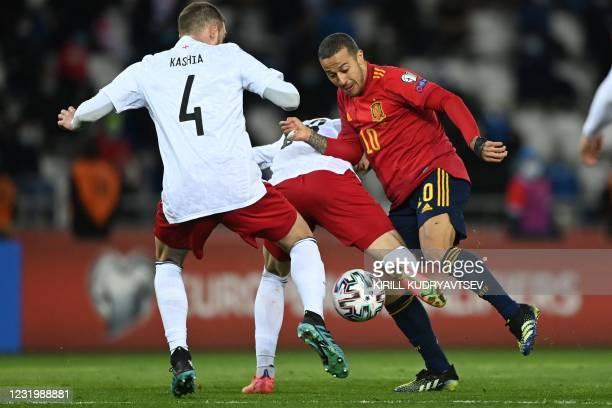 Spain's midfielder Thiago Alcantara in action during the FIFA World Cup Qatar 2022 qualification football match Georgia v Spain in Tbilisi on March...