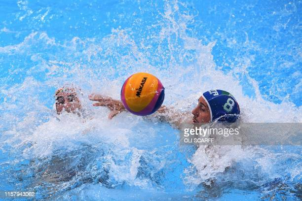 Spain's Miguel De Toro Dominguez vies for the ball with Italy's Gonzalo Echenique during the men's final match between Spain and Italy of the water...