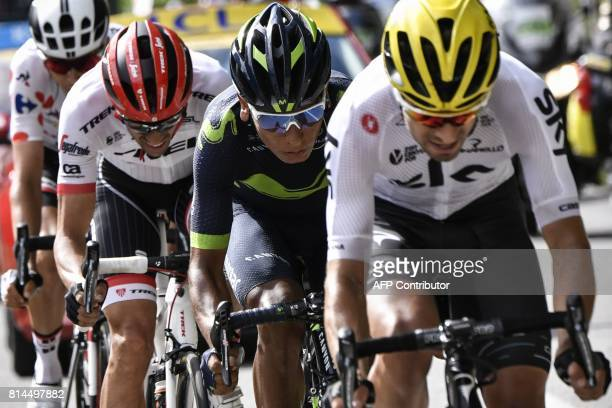 Spain's Mikel Landa Colombia's Nairo Quintana Spain's Alberto Contador and France's Warren Barguil wearing the best climber's polka dot jersey ride...