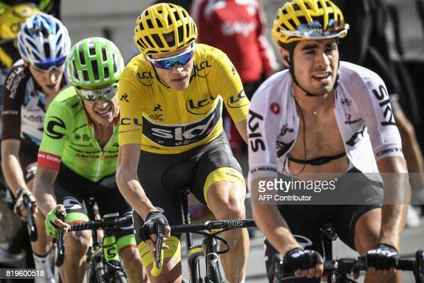 Spain's Mikel Landa Great Britain's Christopher Froome wearing the overall leader's yellow jersey Colombia's Rigoberto Uran and France's Romain...