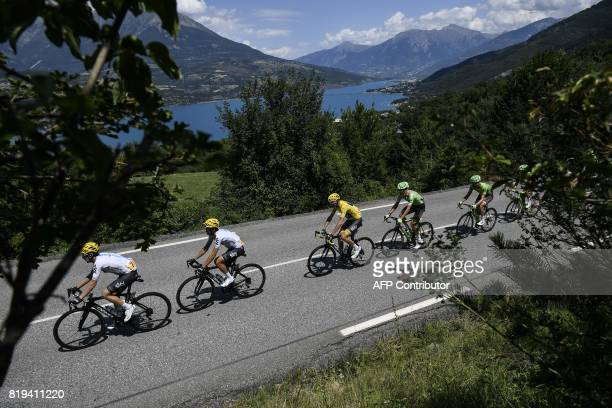 Spain's Mikel Nieve Spain's Mikel Landa Great Britain's Christopher Froome wearing the overall leader's yellow jersey and Netherlands' Dylan van...