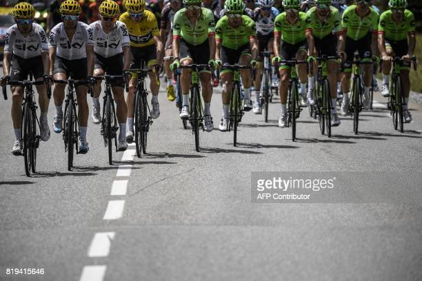 Spain's Mikel Nieve Spain's Mikel Landa Poland's Michal Kwiatkowski Great Britain's Christopher Froome wearing the overall leader's yellow jersey...