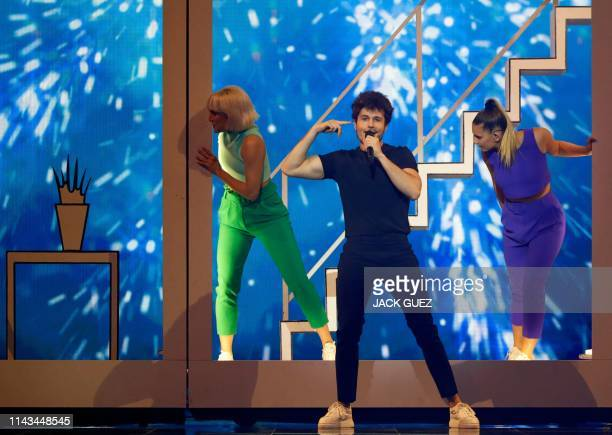 Spain's Miki rehearses ahead of the 64th edition of the Eurovision Song Contest in the Israeli coastal city of Tel Aviv on May 13 2019
