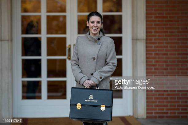Spain's Minister for Equality Irene Montero poses for photographers before the first council meeting at Moncloa Palace on January 14 2020 in Madrid...