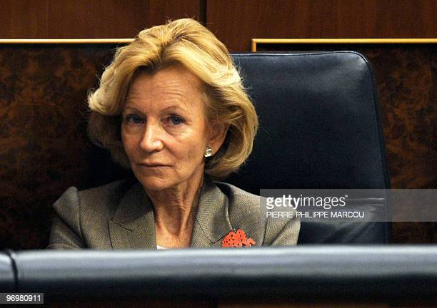 Spain's Minister of Economy and Finance Elena Salgado attends a parliamentary debate on economic woes on February 17, 2010 at the Parliament in...