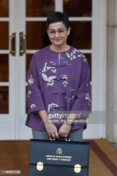 Spain's Minister of Foreign Affairs Arancha Gonzalez Laya arrives at the Moncloa Palace in Madrid on January 14 2020 to attend the first cabinet...