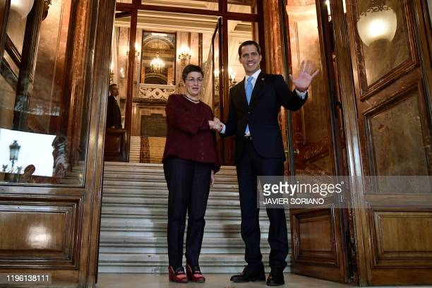 Spain's Minister of Foreign Affairs Arancha Gonzalez Laya meets with Venezuelan opposition leader Juan Guaido in Madrid on January 25 2020