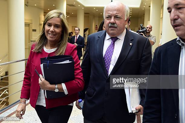 Spain's Minister of Health Social Services and Equality Ana Mato arrives at a control session at the Senate in Madrid on October 14 in the wake of...