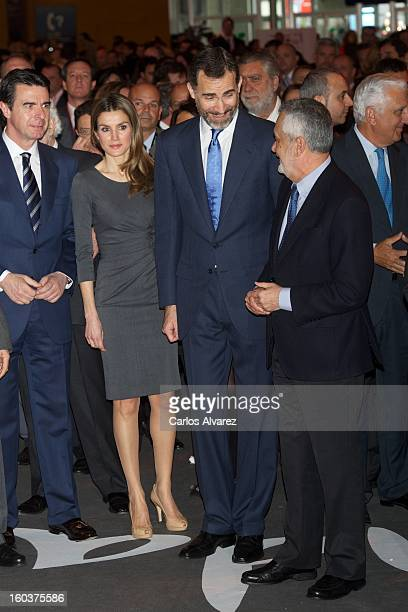 Spain's Minister of Industry Energy and Tourism Jose Manuel Soria Princess Letizia of Spain Prince Felipe of Spain and President of Andalusia Jose...