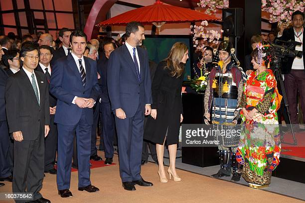 Spain's Minister of Industry Energy and Tourism Jose Manuel Soria Prince Felipe of Spain and Princess Letizia of Spain attend Fitur International...