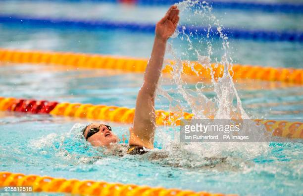 Spain's Mireia Belmonte on her way to winning her heat in the Women's 400m IM during day one of the 2018 EISM and British Championships at the Royal...