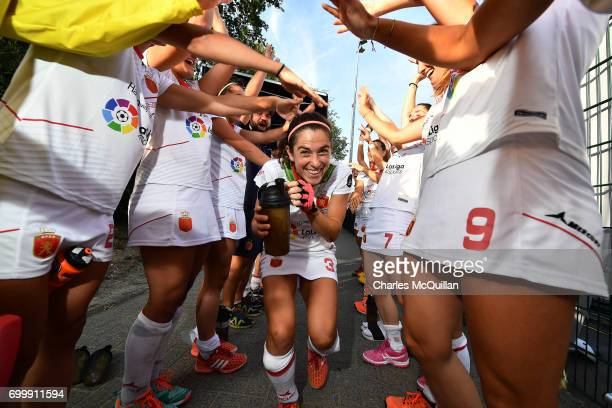 Spain's most capped player Rocio Ybarra of Spain receives a guard of honour to mark her 250th cap following the FINTRO Women's Hockey World League...