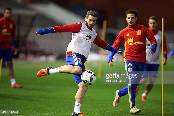 Spain's Nacho Fernandez takes part in a training session on November 16 2015 in Brussels on the eve of an UEFA Euro 2016 friendly football match...