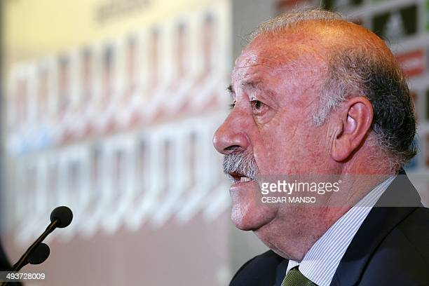 Spain's national football coach Vicente del Bosque attends a press conference in Madrid on May 25 2014 announcing the country's official squad of 23...