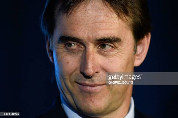 Spain's national football team coach Julen Lopetegui attends a press conference in Madrid on May 21 2018 to announce Spain's 23man squad for the 2018...
