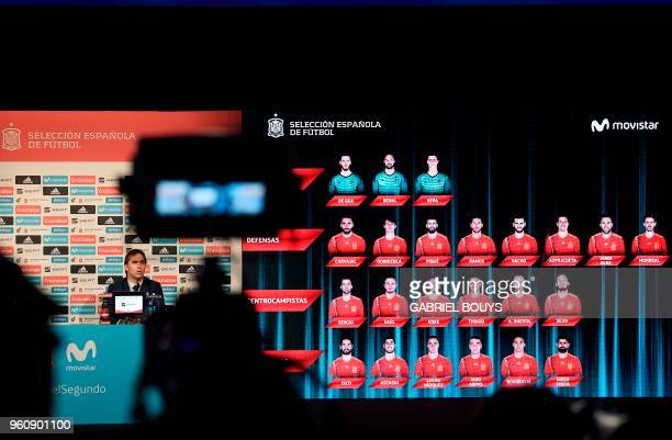 Spain's national football team coach Julen Lopetegui holds a press conference in Madrid on May 21 2018 to announce Spain's 23man squad for the 2018...