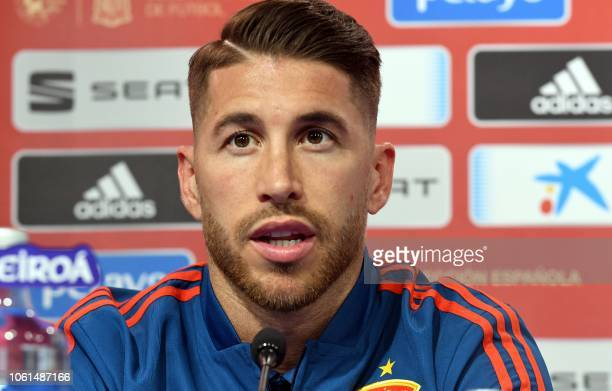 Spain's national football team defender Sergio Ramos speaks during a press conference at the Maksimir stadium in Zagreb on November 14, 2018 on the...