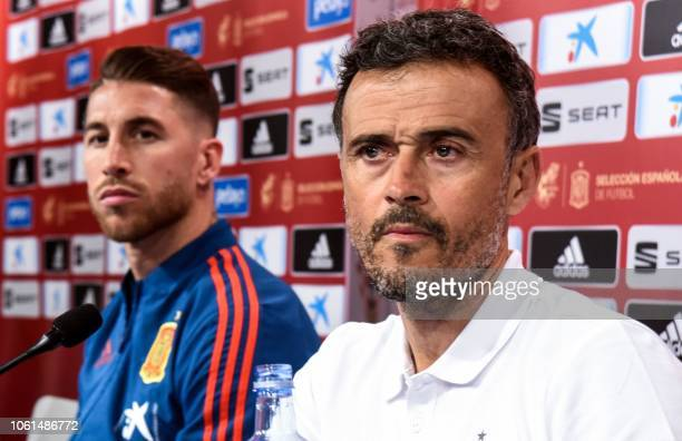 Spain's national football team head coach Luis Enrique and defender Sergio Ramos attend a press conference at the Maksimir stadium in Zagreb on...
