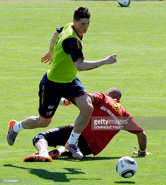 Spain's national football team player Fernando Torres trains on June 6 2010 at the Sports City of Las Rozas near Madrid Spain is preparing for the...