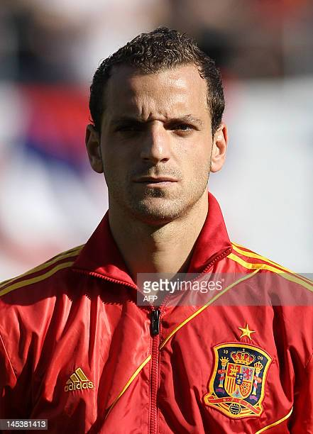 Spain's national football team player Roberto Soldado poses prior to the start of the friendly football match between Spain and Serbia at the AFG...