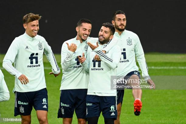 Spain's national football team players attend a training session on September 1, 2021 in Solna, Sweden, on the eve of the World Cup qualifier Sweden...