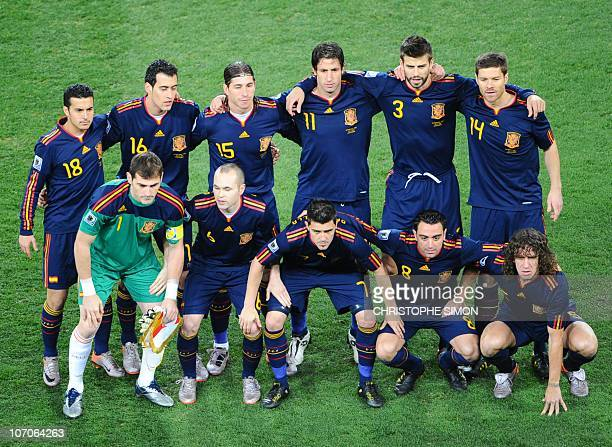 Spain's national football team poses before the start of the 2010 World Cup football final against The Netherlands at Soccer City stadium in Soweto...