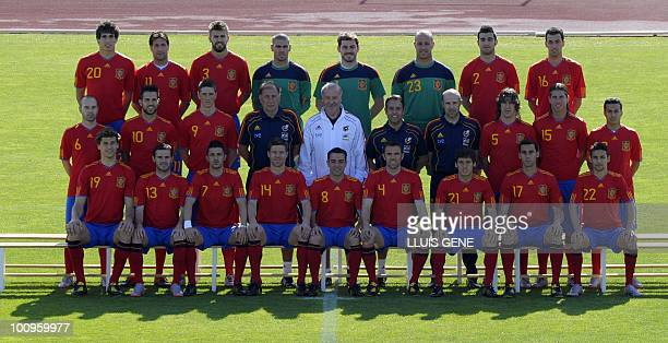 Spain's National football team poses for a group picture before a training session on May 26 2010 at the Sports City of Las Rozas near Madrid Spain...