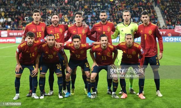 Spain's national football team Spain's defender Juan Bernat, Spain's midfielder Santi Cazorla, Spain's defender Jesus Navas, Spain's midfielder Pablo...