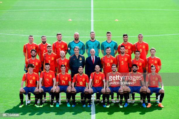 Spain's national football team squad pose at Las Rozas de Madrid sports city on June 5 2018 Spain's forward Iago Aspas Spain's defender Dani Carvajal...