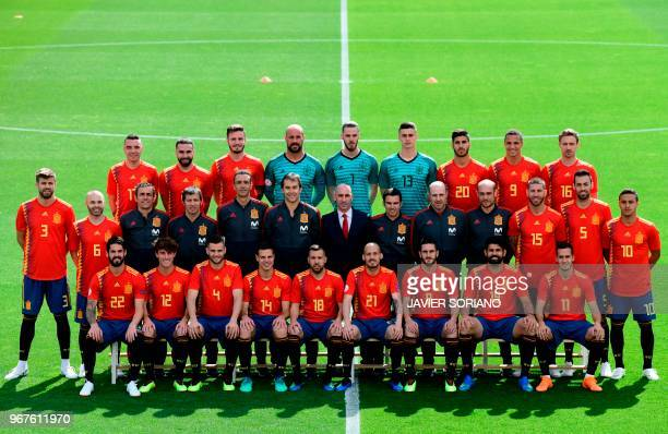Spain's national football team squad pose for a official photo at Las Rozas de Madrid sports city on June 5 2018