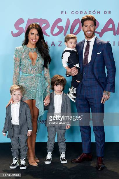 Spain's National Team and Real Madrid captain Sergio Ramos, wife Pilar Rubio and children Alejandro Ramos Rubio, Marco Ramos Rubio and Sergio Ramos...
