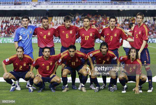 Spain's national team Iker Casillas Carlos Marchena David Albelda Joaquin Sanchez Asier del Horno Fernando Torres and Michel Salgado Xavi Hernandez...