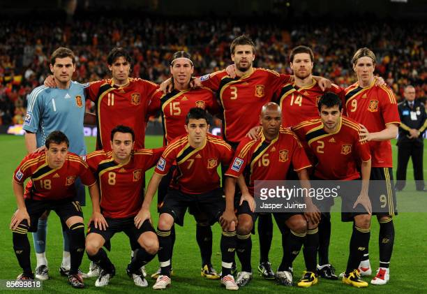 Spain's national team Santiago Cazorla Xavier Hernandez David Villa Marcos Senna Raul Albiol and Iker Casillas Joan Capdevila Sergio Ramos Gerard...